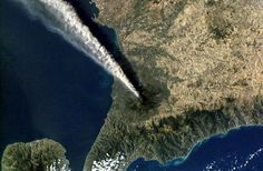 View from space Credit: NASA/Getty  Authorities monitor Mount Etna's activity closely, and eruptions and the resulting ash clouds can sometimes affect nearby towns and resorts.
