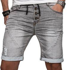 Sublevel Herren Jogg Jeans Shorts kurze Hose Bermuda Sommer Short Sweathose  Slim  B112 - Grau 158b1a71c4