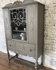 Painted gray, glazed, and highlighted with subtle metallic accents. Small China Cabinet, China Cabinet Redo, Antique China Cabinets, Painted China Cabinets, Antique Buffet, Cabinet Decor, Repurposed China Cabinet, Refurbished Furniture, Paint Furniture