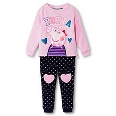 Toddler Girls' Peppa Pig Top and Bottom Set - Blue/Pink