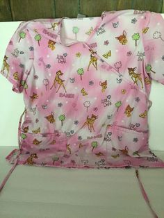 Disney BAMBI NURSE, Vet, Dental SCRUB TOP Medium Butterflies, Flowers, Hearts #Disney