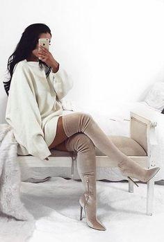 #winter #fashion / White Oversized Knit Dress + Tan Velvet OTK Boots