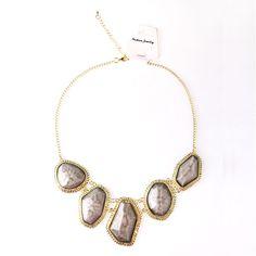$6.99 Light Grey Irregular Shaped Acryl Bib Necklace at Online Jewelry Store Gofavor.com