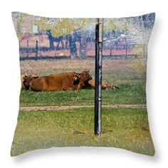 Dwarf Forest Buffalo Throw Pillow by Miroslava Jurcik