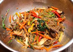 The BEST Japchae Recipe (Korean Glass Noodle Stir Fry)   잡채 — ahnesty Sauteed Carrots, Cooked Carrots, Vermicelli Noodles, Pasta Noodles, Jap Chae Recipe, Japchae Recipe Korean, Korean Vegetables, Korean Glass Noodles, Cheap Vegan Meals