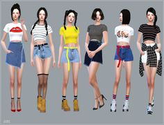 New Crop Short Sleeves Top_뉴 크롭 반팔 티_여자 의상 - SIMS4 marigold