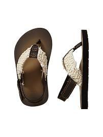 Braided ankle-strap flip flops