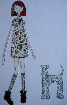 girl and dog machine applique