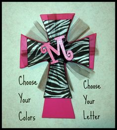 "Hot Pink and Zebra cross with Tulle and Initial. This cross measures 15 1/2"" x 11"" on Etsy, $30.00"