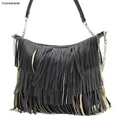 WESTERN HANDBAG PURSE DOUBLE SIDED BLACK FRINGE CROSSBODY MESSENGER HIPSTER BAG