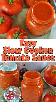 Slow Cooker Tomato Sauce from My Fearless Kitchen. Make the most of your garden-fresh tomatoes with this Easy Slow Cooker Tomato Sauce. Make a few big batches now and freeze it to use all winter long. Tomato Sauce Crockpot, Fresh Tomato Sauce Recipe, Fresh Tomato Recipes, Freezing Tomato Sauce, Tomato Ideas, How To Make Tomato Sauce, Freezing Tomatoes, Spinach Recipes, Slow Cooker Spaghetti Sauce