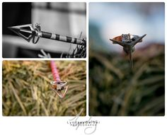 Bow hunting engagement session arrow detail ring shots. Socorro New Mexico Engagement Photography