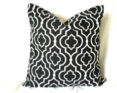 Black White Pillow Cover - 18 x 18, One, Moroccan Pillow, Geometric Cushion, Black & White Pillow, Black Pillows, Black White Cushion Covers