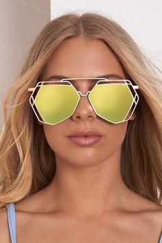 So Slim Shady Hexagon Mirrored Sunglasses Gold Gold Sunglasses, Mirrored Sunglasses, Slim Shady, Sunglass Frames, Mirror Mirror, Green And Gold, Eyewear, Shades, Unique