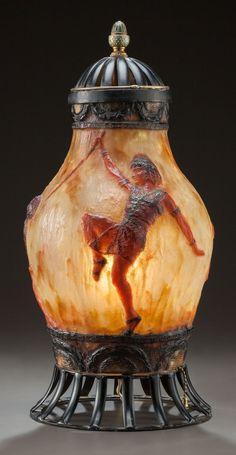 gabriel argy rousseau | Gabriel Argy-Rousseau (1885-1953), Pâte de verre, Lamp.