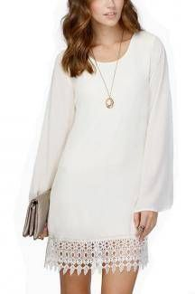 Vestido blanco detalle de croché