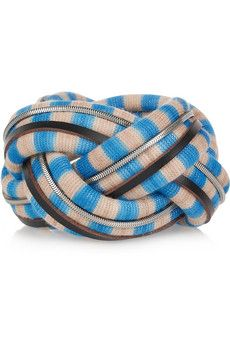 Missoni - Leather-trimmed striped bracelet