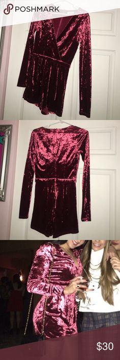 Burgundy velvet long sleeve romper Beautiful sugarlips burgundy velvet long sleeve romper worn only ONCE. Size small fits super cute! No trades, open to offers. Sugarlips Other