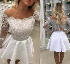 Sexy Bateau Neck Beads Short Mini Prom Dresses 2018 Appliques Formal Party Gowns Sheer Long Sleeve Evening Gown Homecoming Dress Custom Made Mini Prom Dresses, Short Dresses, White And Silver Dress, Confirmation Dresses, Long Sleeve Evening Gowns, Lace Dress With Sleeves, Event Dresses, Party Gowns, Tulle Dress