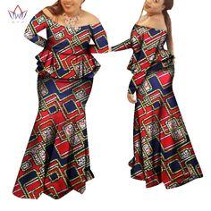 2017 brw新しいアフリカのドレスのため女性プライベートカスタム伝統アフリカ服セクシーなアフリカスカートセットプラスサイズWY964