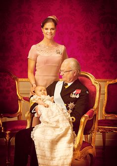 Three generations: King Carl XVI Gustaf, Crown Princess Victoria and Princess Estelle.