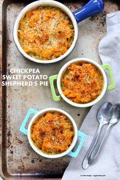 Vegan Shepherds Pie with Chickpeas & Sweet Potato mash.Crusted with breadcrumbs, garlic & herbs. 1 hour Easy Vegetarian Shepherd's Pie. Nut-free Soy-free Recipe. Can be gluten-free.