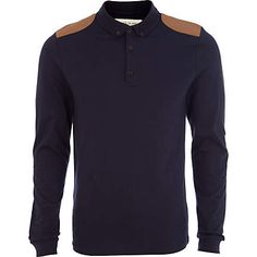 River Island | Navy long sleeve shoulder patch polo shirt