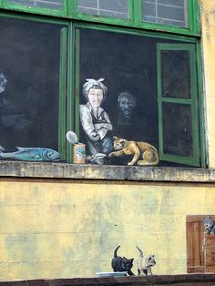 Cat lady street art
