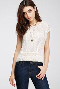 Tassled Lace Top | FOREVER21 - 2000137711 I like the lace