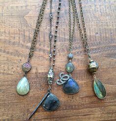 Druzy, Labradorite and Diamond pendant necklaces.