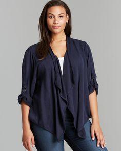 Karen Kane Plus Size Fashion Navy Blue Roll Sleeve Cascade Jacket | Bloomingdale's #Karen_Kane #Navy #Blue #Plus #Size #Fashion #Plus_Size_Fashion #Bloomingdales