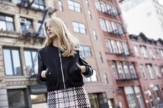 LOOKAST CHAPTER #5 - 2014 fall winter in New York_ Leather combination stadium jumper & wool check skirt