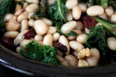 Warm White Bean and Kale Salad with Dried Cranberries and Cashews