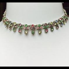 """GORGEOUS Rhinestone Multi-color Angel Necklace GORGEOUS! GORGEOUS Rhinestone Multi-color Angel Necklace- Choker Style with Silver Tone Base. 16"""" Length. Retail $49.00- Glamour Girl. BRAND NEW WITH OUT TAGS! Glamour Girl  Jewelry Necklaces"""