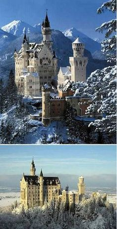 """Also known as """"Neuschwanstein Castle Füssen Snow White Castle"""" is the myth of the white walls and blue top castle, located in the Alps, was built in 1869. The construction of the castle is very dramatic. Initially it was designed by the Bavarian King Ludwig II's dream of Ludwig II is the cousin of Sissi, said that he has secret crush on Sissi, his stay at the unfinished castle, Sissi had presented only porcelain swan congratulations, so Ludwig II of this castle named Neuschwanstein Castle."""