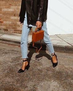 Vintage denim, black leather jacket, black heels   Street style, street fashion, best street style, OOTD, OOTD Inspo, street style stalking, outfit ideas, what to wear now, Fashion Bloggers, Style, Seasonal Style, Outfit Inspiration, Trends, Looks, Outfits.