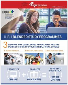 IUBH Blended Study Programs!!! For study abroad options get in touch with Riya Education.  Visit our website.