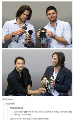 Misha looks so proud of himself and content and Jared looks like a happy puppy omg this is perfect