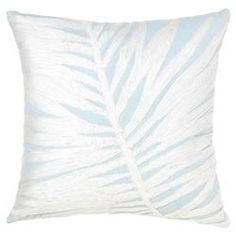 Palm Coastal Sky Blue Stitched Pillow -18x18 | Kathy Kuo Home