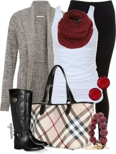Gorgeous casual chic outfit. Basic tank and denim paired with grey knot sweater, black boots with gold detail and tied together with Burberry handbag and plum red accessories.