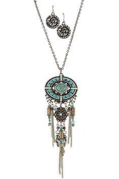 Antique Tribal turquoise with fringe drop necklace set - Sassy Posh