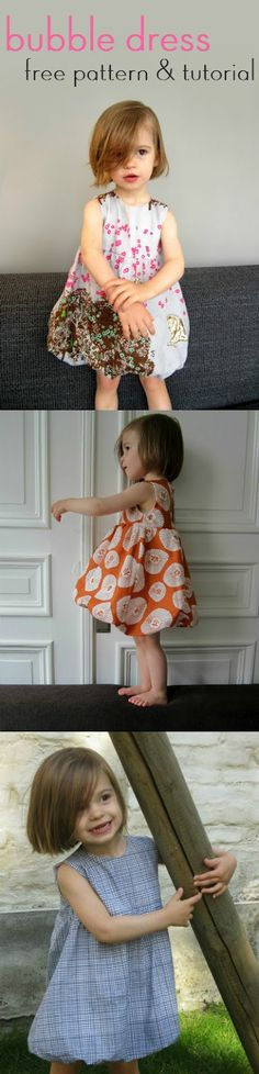 Bubble dress: patterns and tutorial cute kids dress with sewing instructions # girls dress # kids clothes # homemade straight-grain. Sewing Hacks, Sewing Tutorials, Sewing Crafts, Sewing Projects, Diy Crafts, Tutorial Sewing, Decor Crafts, Sewing Ideas, Diy Projects