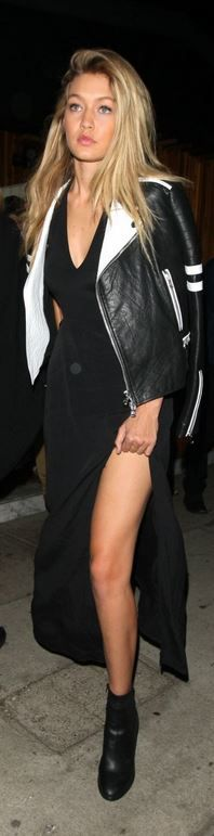 Who made Gigi Hadid's black cut out gown?
