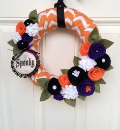 I like the idea here, plus the Orange and purple.-ajc☕️Halloween Wreath Fall Wreath Halloween Decor by TheVioletteBloom