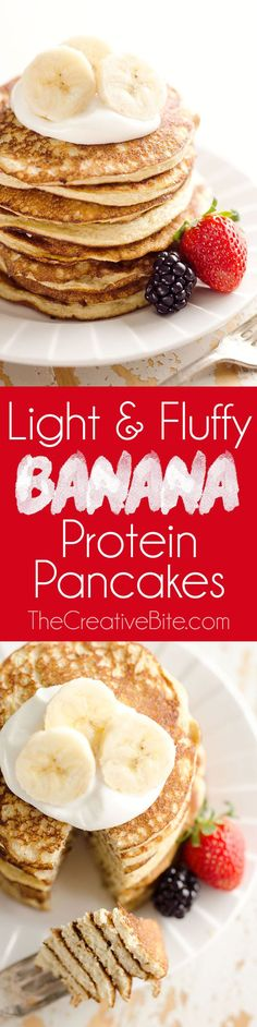 Light Fluffy Banana Protein Pancakes are a healthy breakfast with five simple ingredients that taste amazing and fill you up! Egg whites, protein powder and ripe bananas make up these low-fat and low-carb pancakes, for a complete and wholesome meal unde Weight Watcher Desserts, Protein Snacks, Healthy Snacks, Healthy Low Fat Meals, Healthy Breakfasts, Healthy Life, Good Food, Yummy Food, Tasty