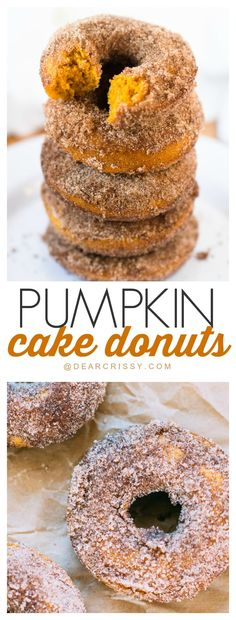 fig dessert recipes, cake dessert recipes, canned pumpkin dessert recipes - Pumpkin Cake Donuts - A simple recipe that produces a moist, sweet and delicious donut. Add the cinnamon sugar and they are to die for! Pumpkin Cake Donut Recipe, Pumpkin Dessert, Cake Donut Recipe Baked, Pumpkin Cake Recipes, Cake Donut Recipes, Pumkin Donuts, Pumpkin Cakes, Donuts Donuts, Fig Dessert