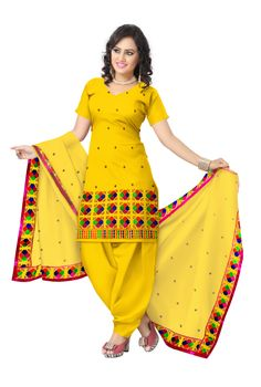 Unstitched Phulkari Suit Piece Cotton Silk- Yellow