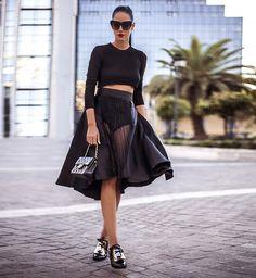 Skirt, Top, Chanel Purse, Sunglasses