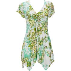 Green Floral Petite Tunic (5,090) found on Polyvore