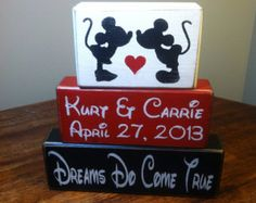 Mickey and Minnie Mouse Wedding PERSONALIZED Marriage Family Names Wedding Date Wood Sign blocks primitive country rustic